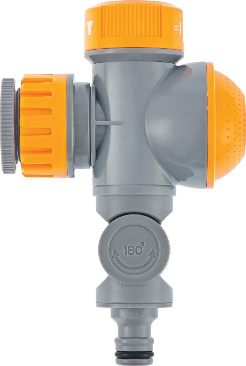 """Подключается к крану с резьбой 3/4""""-1"""".  Благодаряналичиюраспыляющейнасадки сохраняет свободный доступ к крану даже при подключенном шланге.  При помощи регулятора можно выбрать один из трех режимов подачи воды(«центральный», «душ» или «шланг»), а при необходимости отключить.  Шарнирный механизм позволяет менять направление соединений на 720°, защищая шланг от перегибов и перекручивания."""