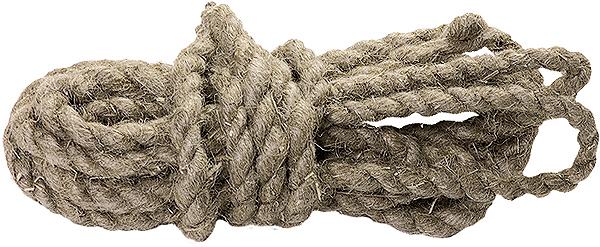Веревка льнопеньковая крученая.  Удобна в обращении, применяется в качестве обвязочного материала в различных отраслях народного хозяйства и в быту.