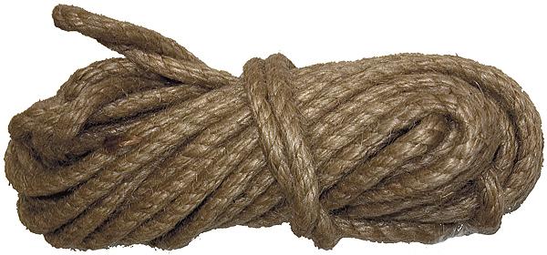Веревка джутовая крученая.  Удобна в обращении, применяется в качестве обвязочного материала в различных отраслях народного хозяйства и в быту.