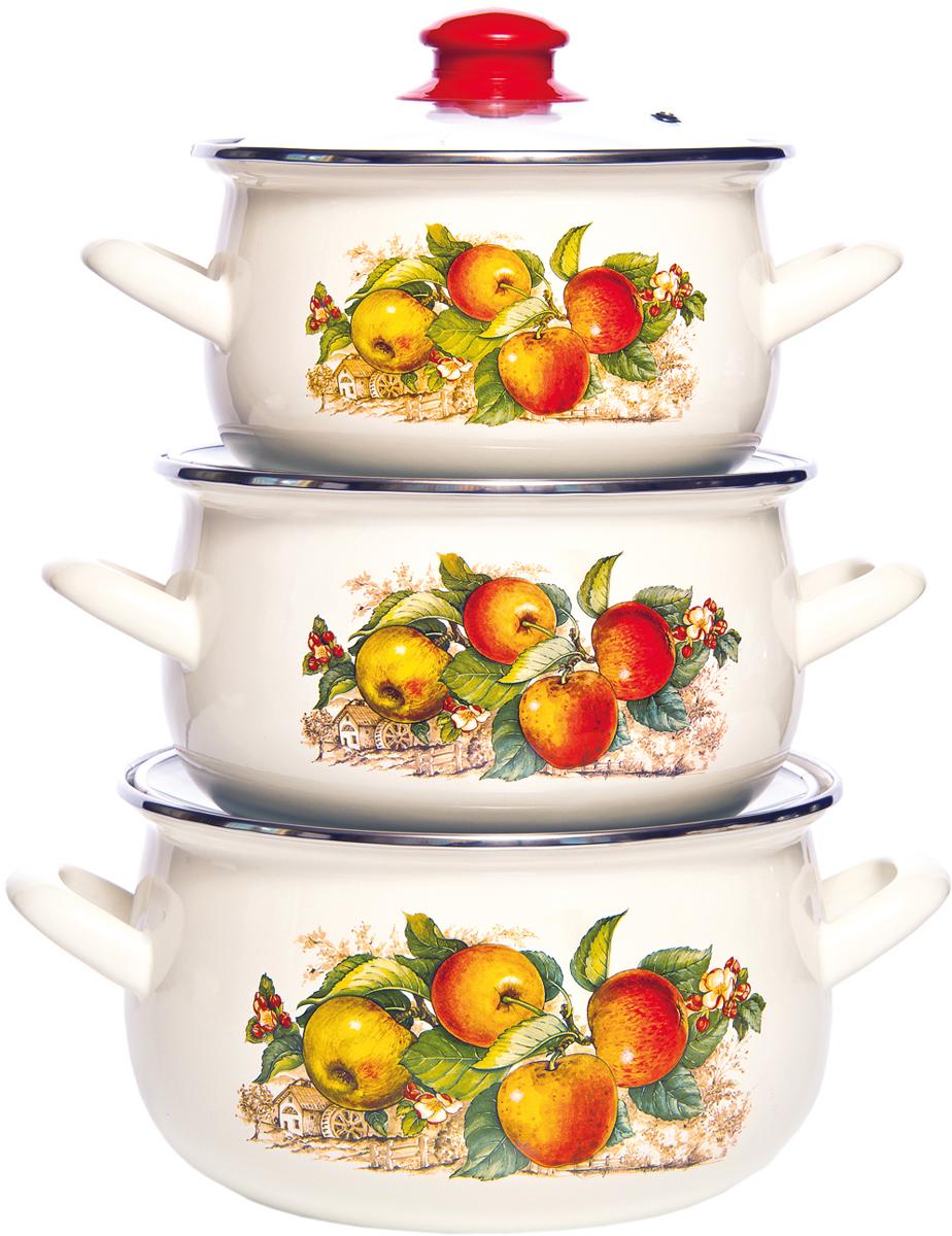 Набор кастрюль Interos Яблоки, с крышками , 3 предмета набор эмалированных кастрюль маруся полевые цветы с крышками 3 шт