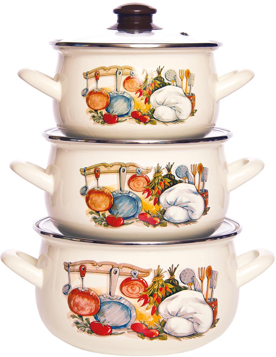 Набор 3пр Кухня стекл/кр : материал: эмаль Состав кастрюли: 2,1л., 3,1л., 4,0л.
