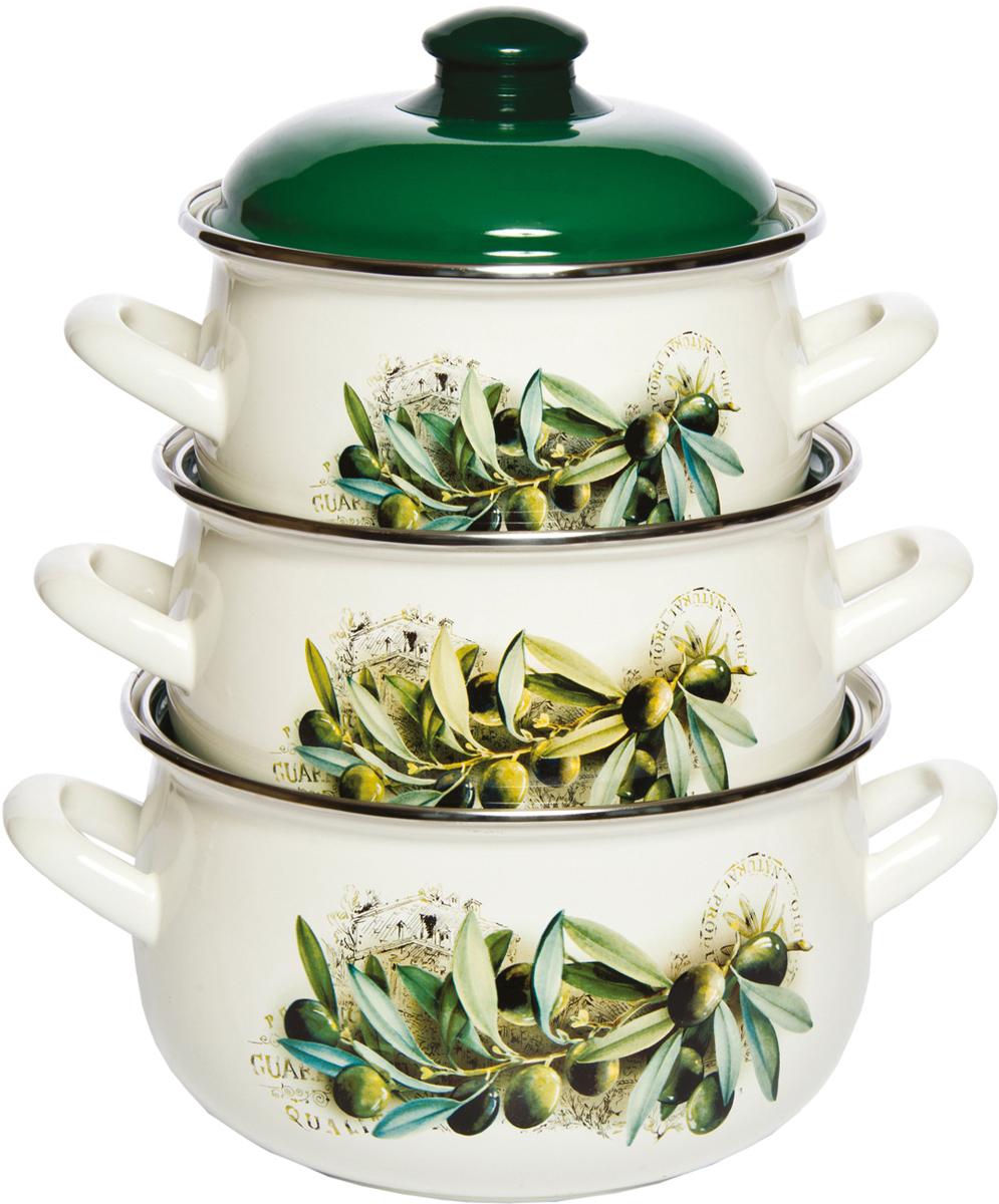 Набор кастрюль Interos Маслины, с крышками , 3 предмета набор эмалированных кастрюль маруся полевые цветы с крышками 3 шт