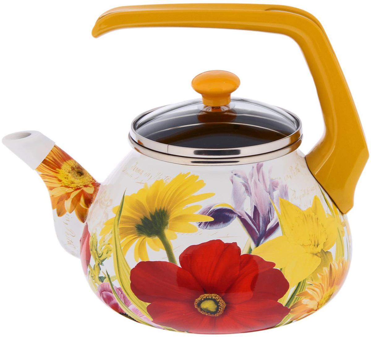 """Чайник Interos """"Настроение"""" имеет необычный и яркий дизайн, который привлекает к себе внимание. Корпус чайника изготовлен из высококачественной нержавеющей стали, которая не деформируется. Стойкое эмалированное покрытие с рисунком выдерживает нагрев до 300 градусов. Ручка удобной эргономичной формы выполнена из бакелита, не нагревается при использовании."""