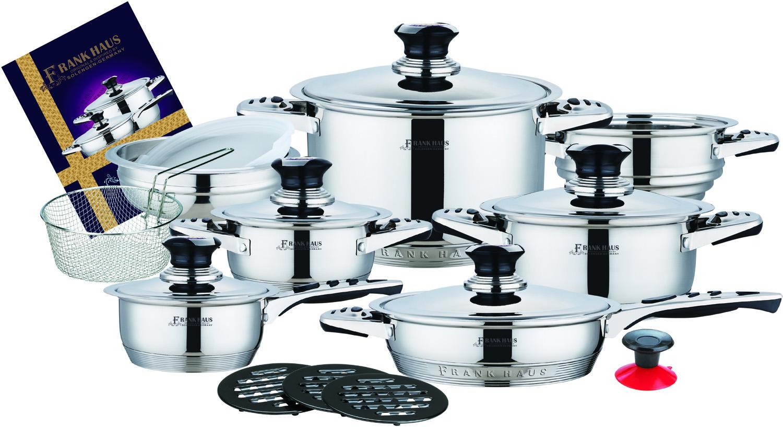 Посуда Набор посуды Frank Haus, 19 предметов. FH-9000FH-9000Набор посуды Frank Haus - это высокое качество, изготовлена из высококачественной нержавеющей стали, которая абсолютно безопасна для приготовления и хранения пищи.Посуда Frank Haus имеет не нагревающиеся ручки, для безопасного использования при приготовлении пищи. Рассчитана посуда для всех типов плит, включая индукционные.Термодатчики, встроенные на металлических крышках посуды, позволяют контролировать температуру внутри каждой кастрюли. Набор посуды Frank Haus - незаменимый ежедневный помощник.