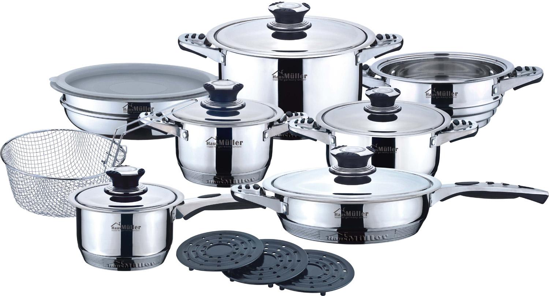 """Набор посуды """"Frank Haus"""" - это высокое качество, изготовлена из высококачественной нержавеющей стали, которая абсолютно безопасна для приготовления и хранения пищи.  Посуда """"Frank Haus"""" имеет не нагревающиеся ручки, для безопасного использования при приготовлении пищи. Рассчитана посуда для всех типов плит, включая индукционные.  Термодатчики, встроенные на металлических крышках посуды, позволяют контролировать температуру внутри каждой кастрюли. Набор посуды """"Frank Haus"""" - незаменимый ежедневный помощник."""