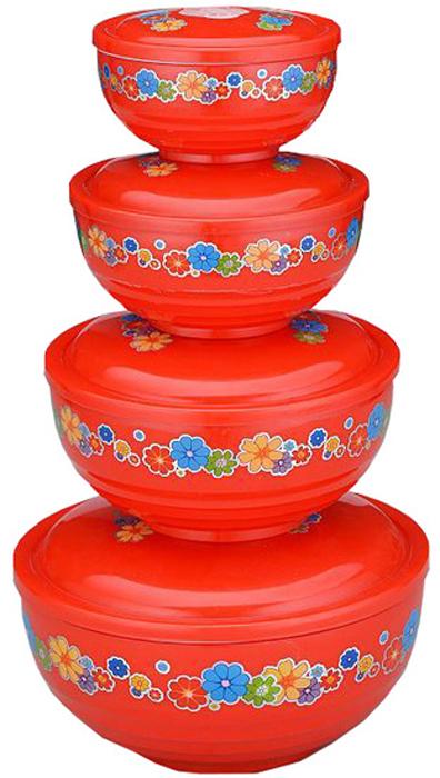 """Набор """"Gelberk"""" состоит из 4 контейнеров круглой формы, предназначенных для хранения пищевых продуктов.  Каждый контейнер выполнен из термостойкого пищевого пластика с двойными стенками и оснащен плотно закрывающейся крышкой с отверстиями для выпуска пара.  Контейнеры устойчивы к воздействию масел и жиров, легко моются, и подходят для использования в микроволновых печах.   Размеры контейнеров: 19,3 х 19,3 х 12 см; 16 х 16 х 10 см; 13,5 х 13,5 х 8,5 см; 11,2 х 11,2 х 7,2 см."""
