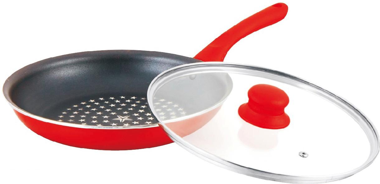 Сковорода Mercury, с крышкой, с антипригарным покрытием, цвет: красный. Диаметр 24 см. MC-6239 краснаяMC-6239 краснаяСковорода Mercury имеет антипригарное покрытие, жаростойкое внешнее покрытие, удобную эргономичную ручку. Подходит для всех видов плит.