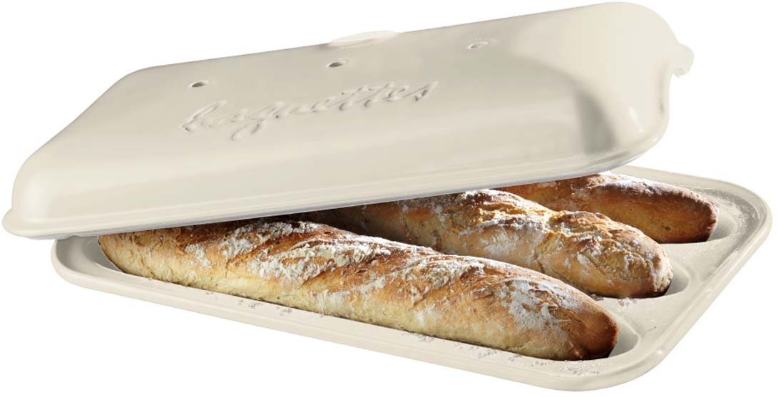Форма для выпечки багетов Emile Henry, цвет: лен, 39 х 24 см форма для выпечки хлеба emile henry с крышкой цвет гранат 24 x 15 см