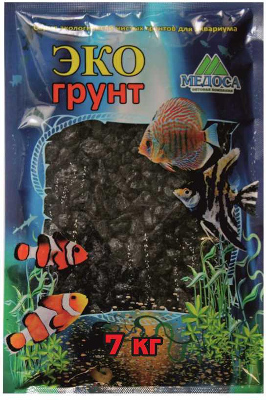 """Грунт для аквариума """"ЭКОгрунт"""", мраморная крошка, блестящая, цвет: черный, 5-10 см, 7 кг"""