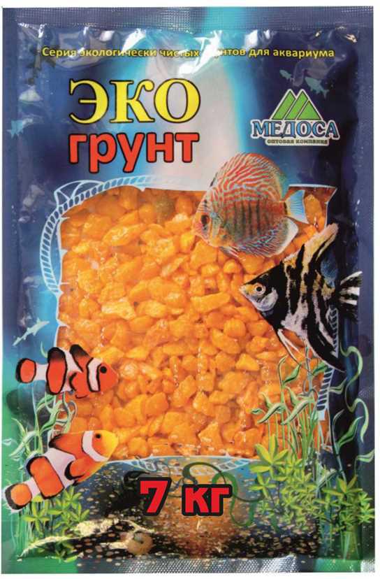 """Грунт для аквариума """"ЭКОгрунт"""", мраморная крошка, блестящая, цвет: желтый, 5-10 см, 7 кг"""