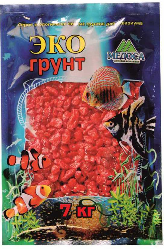 Грунт для аквариума ЭКОгрунт, мраморная крошка, блестящая, цвет: красный, 5-10 см, 7 кг крошка мраморная peter peat цвет белый 5 10 мм 15 кг
