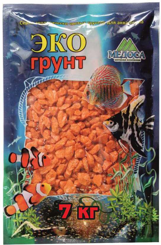 Грунт для аквариума ЭКОгрунт, мраморная крошка, блестящая, цвет: оранжевый, 5-10 см, 7 кг крошка ру точилка хрюша цвет оранжевый