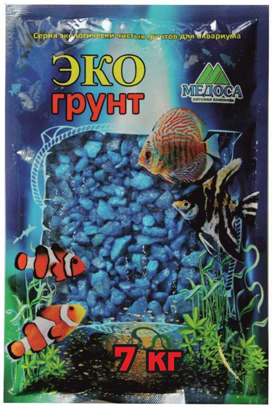"""Грунт для аквариума """"ЭКОгрунт"""", мраморная крошка, блестящая, цвет: голубой, 5-10 см, 7 кг"""