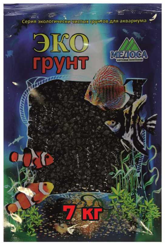 """Грунт для аквариума """"ЭКОгрунт"""", мраморная крошка, блестящая, цвет: черный, 2-5 см, 7 кг"""