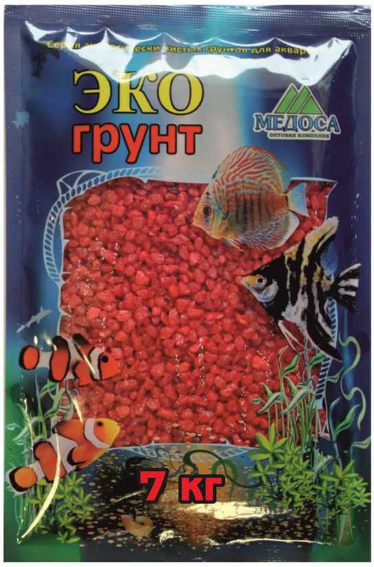 """Грунт для аквариума """"ЭКОгрунт"""", мраморная крошка, блестящая, цвет: красный, 2-5 см, 7 кг"""
