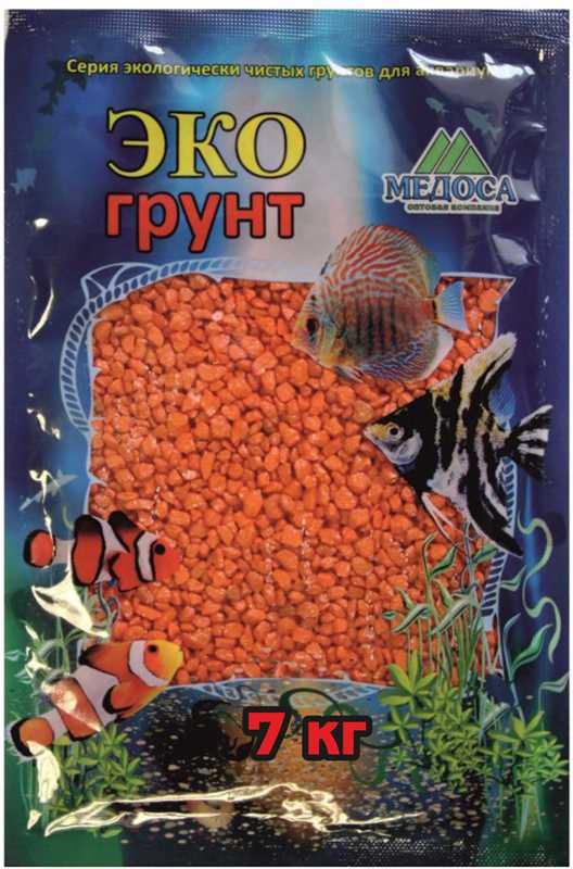 Грунт для аквариума ЭКОгрунт, мраморная крошка, блестящая, цвет: оранжевый, 2-5 см, 7 кг7-1045