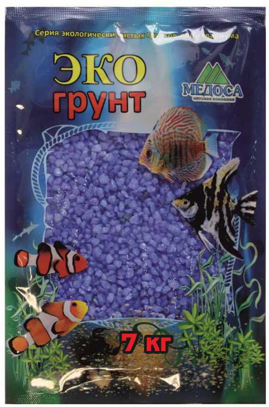 Грунт для аквариума ЭКОгрунт, мраморная крошка, блестящая, цвет: синяя, 2-5 см, 7 кг крошка мраморная шахматная 5 10мм 1кг