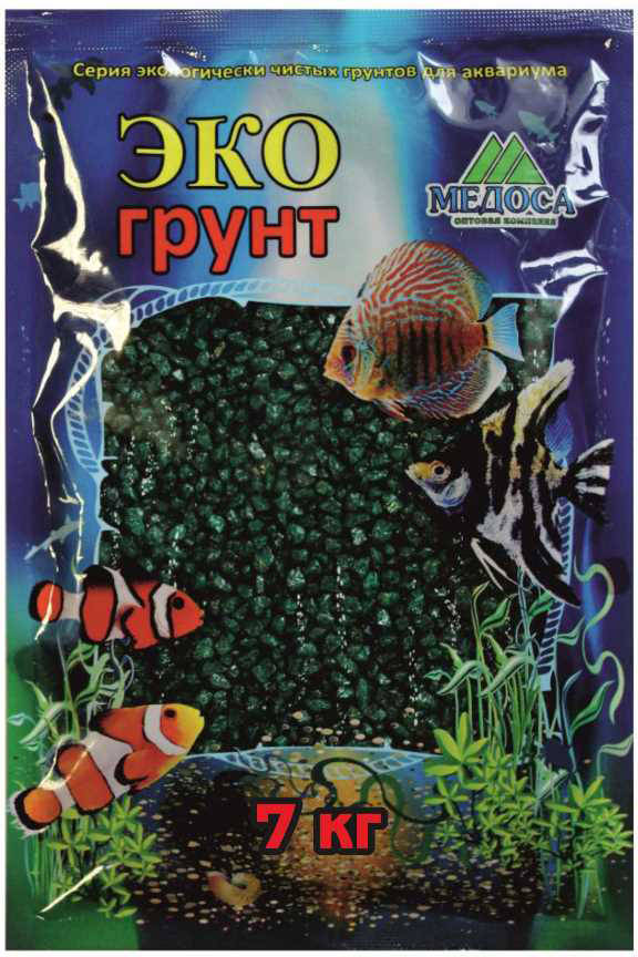 """Грунт для аквариума """"ЭКОгрунт"""", мраморная крошка, блестящая, цвет: изумрудная, 2-5 см, 7 кг"""