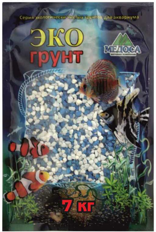 Грунт для аквариума ЭКОгрунт, мраморная крошка, блестящая, цвет: бело-голубая, 2-5 см, 7 кг крошка мраморная шахматная 5 10мм 1кг