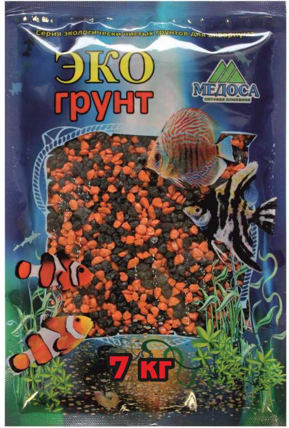 Грунт для аквариума ЭКОгрунт, мраморная крошка, блестящая, цвет: черно-оранжевая, 2-5 см, 7 кг7-1053