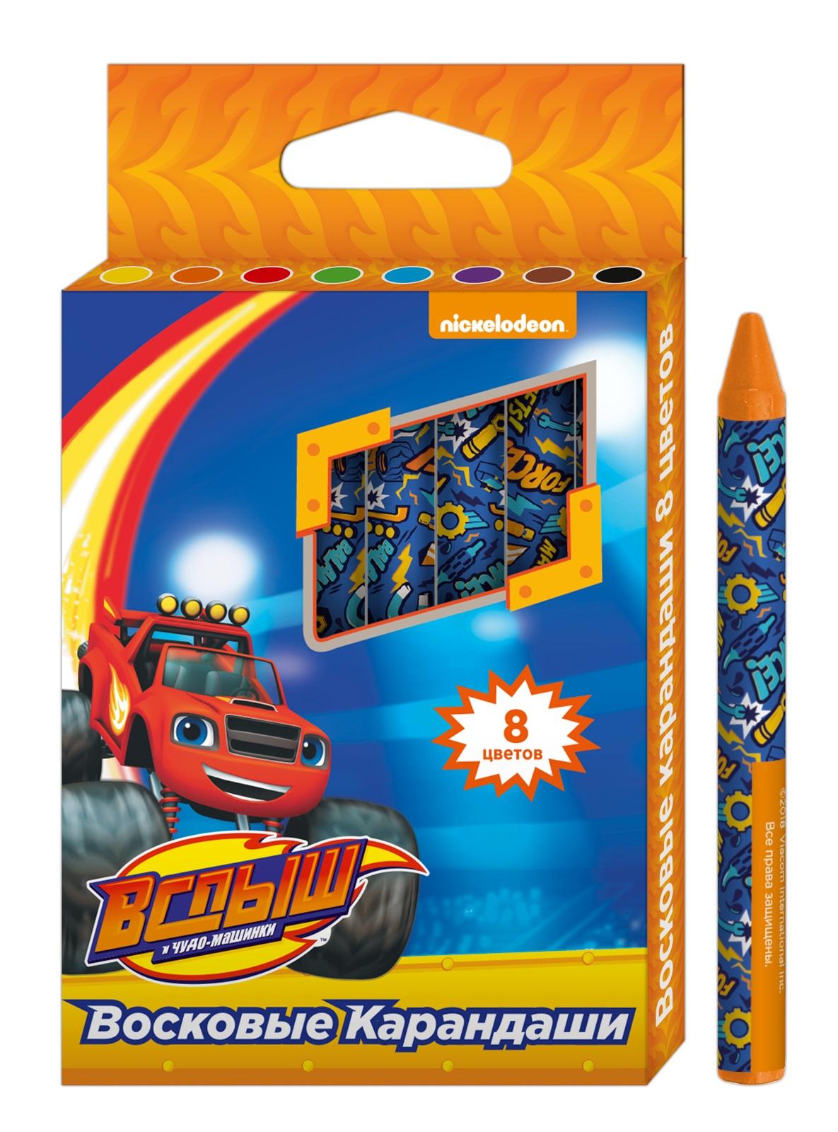 Вспыш Набор восковых карандашей Blaze and the Monster Machines 8 цветов33909В набор Вспыш входит 8 восковых карандашей, которые благодаря своим ярким, насыщенным цветам идеально подходят для рисования, письма и раскрашивания.На каждом карандаше - индивидуальная бумажная упаковка, которая помогает ему не выскальзывать из рук и сохранять пальцы чистыми. Карандаши мягкие и одновременно прочные, что обеспечивает яркость линий без сильного нажима и легкое затачивание. Товар сертифицирован и безопасен при использовании по назначению.Диаметр карандаша: 0,8 см.Длина: 9 см.