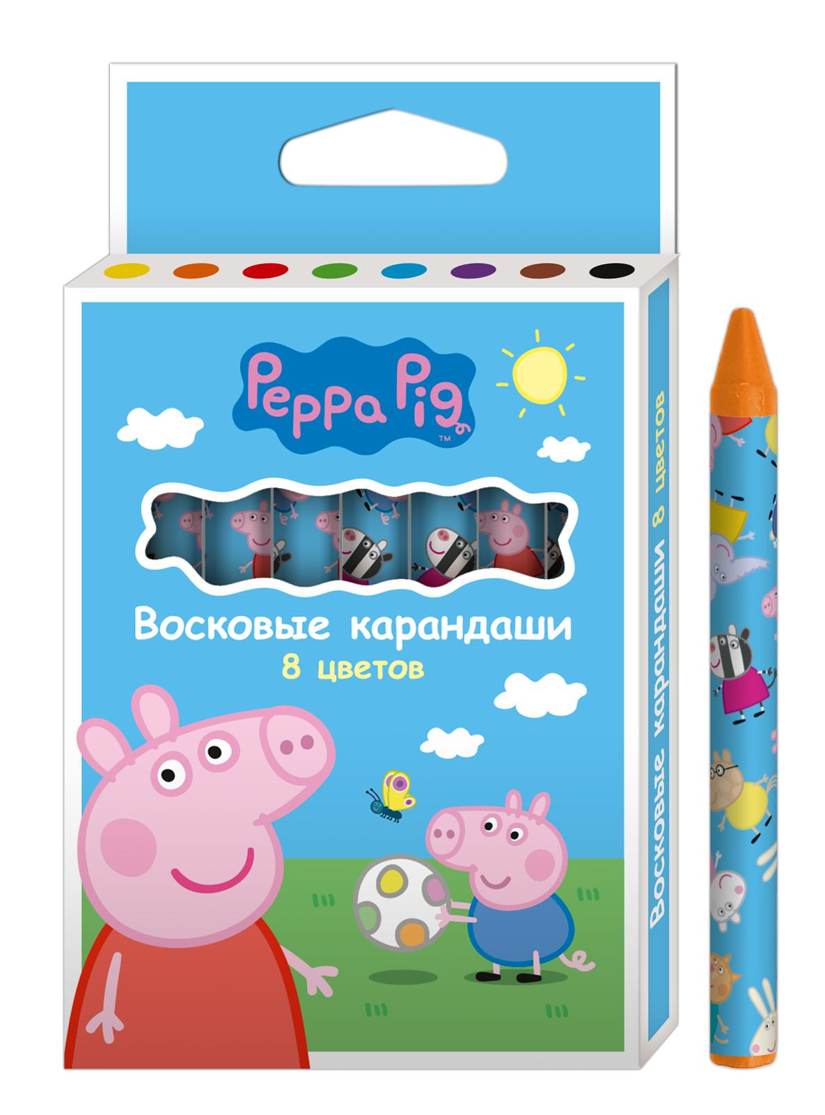 Peppa Pig Набор восковых карандашей Свинка Пеппа 8 цветов peppa pig пакет подарочный пеппа и сьюзи 35 х 25 х 9 см