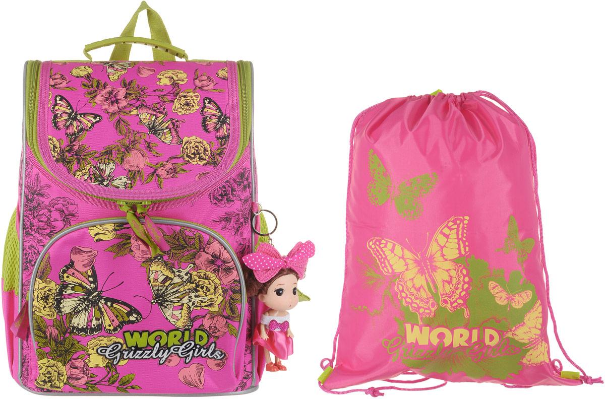 Grizzly Рюкзак школьный с мешком цвет розовый RA-879-8 grizzly рюкзак школьный с мешком цвет розовый ra 879 8