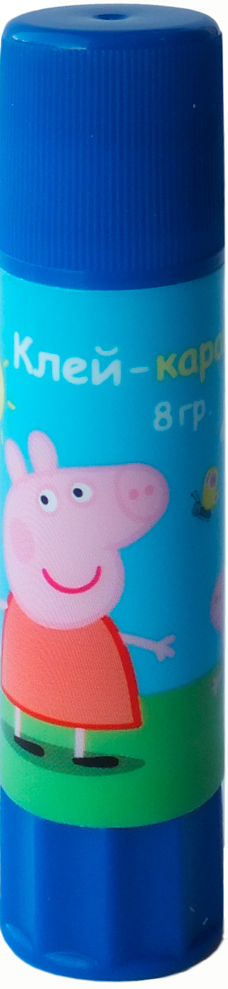 Peppa Pig Клей-карандаш Свинка Пеппа 8 г34036Клей-карандаш Свинка Пеппа идеально подходит для детских поделок и аппликаций из бумаги, картона, ткани и фотографий. Клей легко и равномерно наносится, экономично расходуется, быстро и прочно склеивает поверхности, не имеет запаха и безопасен при использовании по назначению. Удобный поворотный механизм пластикового корпуса обеспечивает дозированную подачу клея и максимально облегчает работу с ним. Объем: 8 г.