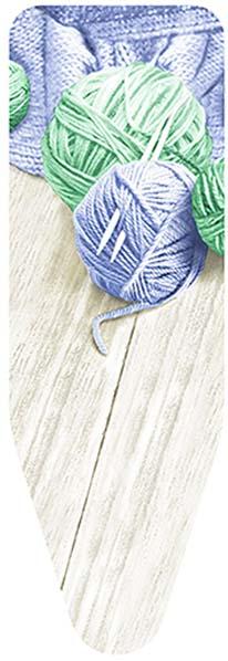 Чехол для гладильной доски Colombo New Scal Клубки пряжи, цвет: сине-зеленый, 140 х 55 см доска гладильная colombo new scal alluminia