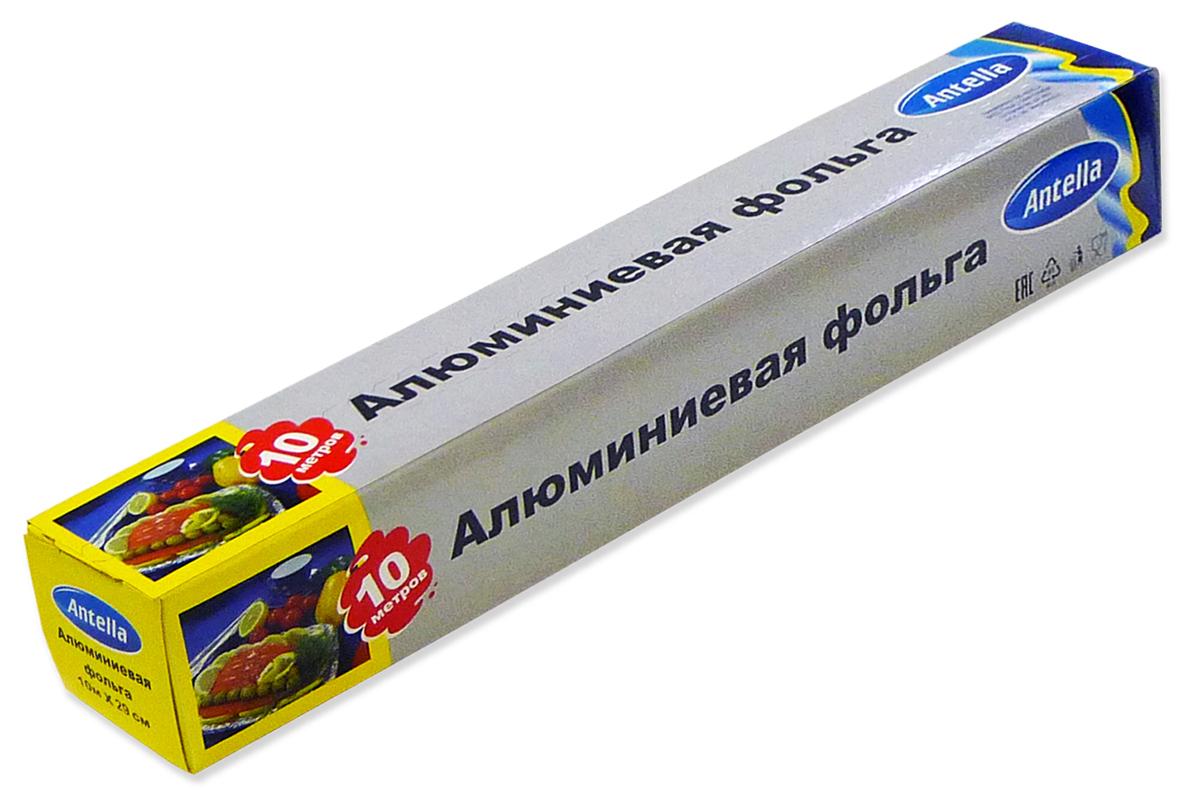 """Алюминиевая фольга """"Antella"""" применяется для упаковки, хранения и приготовления продуктов питания.  Меры предосторожности: не использовать в микроволновых печах и для хранения продуктов, содержащих кислоты.  Инструкция по использованию: вскрыть упаковку, отрезать необходимое количество фольги, выложить продукты и завернуть в 1-2 слоя. Условия хранения: хранить в вентилируемых, крытых помещениях при температуре не менее +5 С и относительной влажности не более 75%. Хранить в недоступном для детей месте. Не требует особых условий транспортировки.  Продукт одноразового использования."""