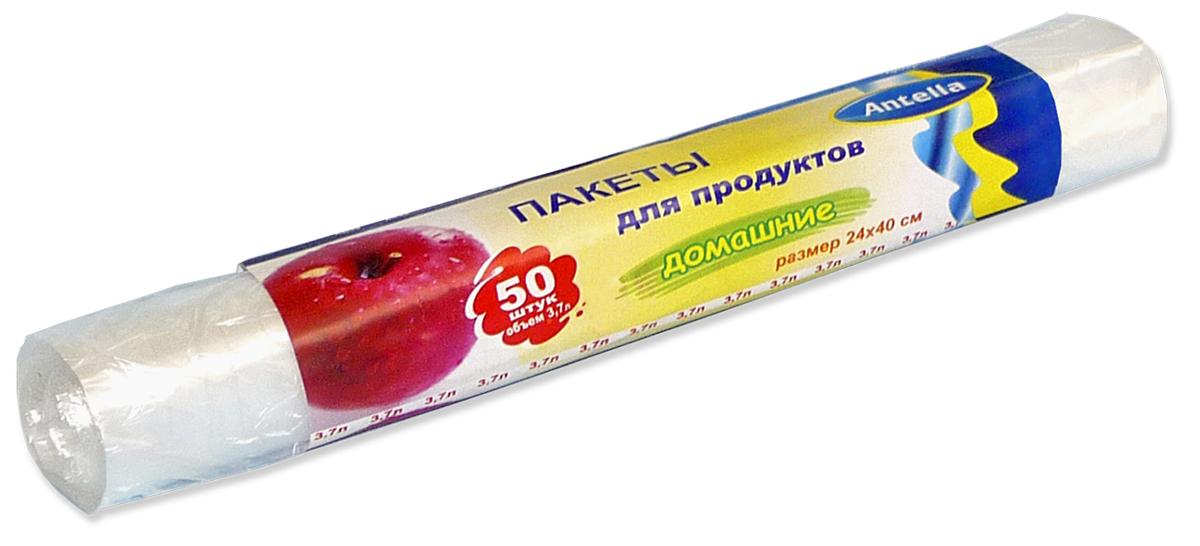 Пакеты для продуктов Antella, 24 х 40 см, 3,7 л, 50 шт пакеты д продуктов antella 50шт 3 7л 7мкм биоразлагаемые