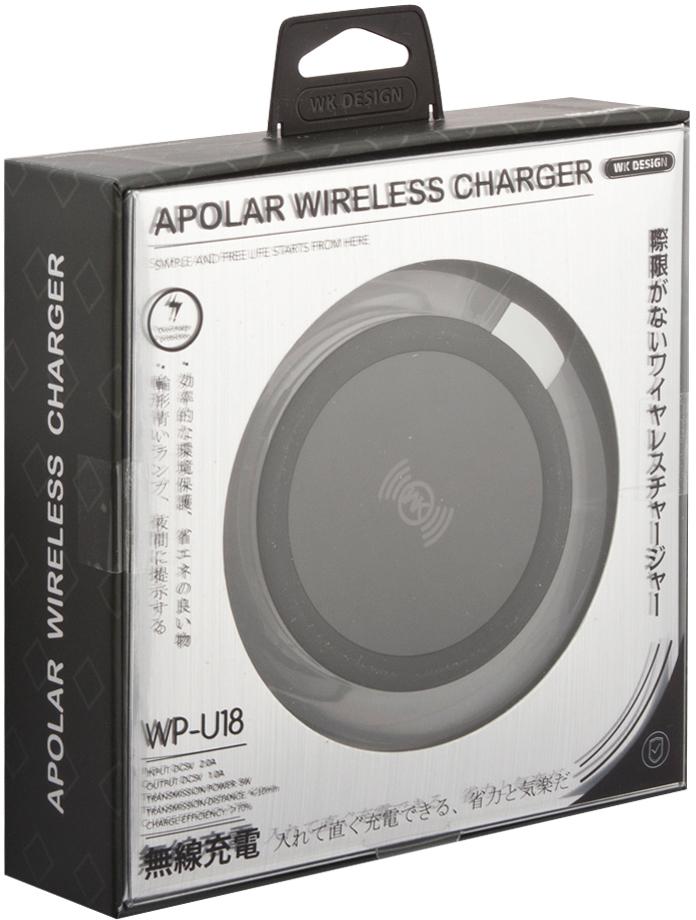 WK WK-Wireless Charger WP-U18, Black беспроводное зарядное устройство momax apple 8 x беспроводное зарядное устройство iphone8 8plus x беспроводное зарядное устройство qi wireless quick charging base black