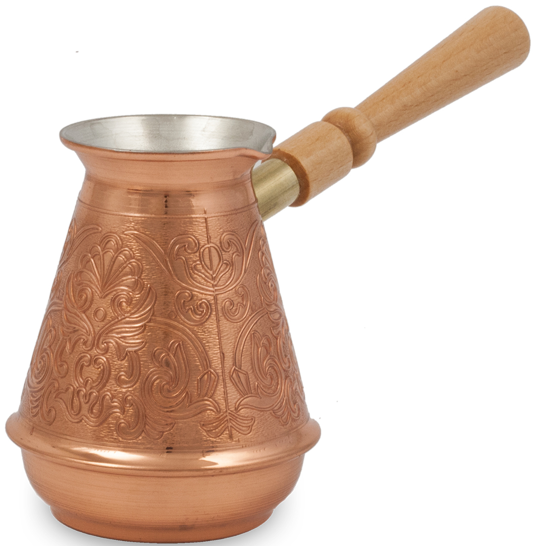 """Кофеварка ТimА """"Турчанка"""" изготовлена по уникальной технологии из листовой меди марки М1М толщиной 0,8 мм. В отличие от других производителей,при производстве кофеварки """"Турчанка"""" не применяется припой, т.е. корпуса этих турок соединяются с донышком методом """"холодной"""" закатки. Таким образом,при использовании кофеварки ТimА исключается вероятность контакта содержимого турки со свинцовым припоем.Медь, по утверждению ученых, самый подходящий для приготовления пищи металл на планете Земля, но окись меди вредна для здоровья человека. Поэтому внутренняя поверхность кофеварки покрыта пищевым оловом толщиной 9-12 мкм. Внешняя поверхность кофеварки имеет натуральный цвет и блеск меди и защищена слоем жаропрочного лака. Кофеварка оснащена удобным носиком и деревянной съемной ручкой (ручка прикручивается против часовой стрелки). Подходит для газовых, электрических, стеклокерамических плит. Не рекомендуется мыть в посудомоечной машине."""