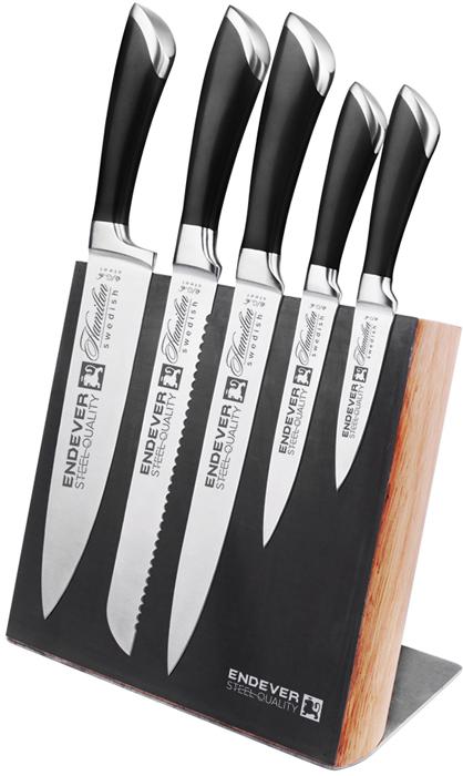 Каждая хозяйка мечтает иметь на кухне идеальные ножи. Такие, которые тонко и точно нарезают продукты, но при этом их не нужно точить  каждую неделю, которые не ржавеют и не деформируются со временем. Именно такими являются ножи серии Hamilton. Набор состоит из ножей для разделки мяса и рыбы, овощей и фруктов, для тонкой нарезки, универсального лезвия, ножа для нарезки хлеба.  Каждый элемент серии предназначен для работы с продуктами разной температуры: от замороженных до горячих ингредиентов. Производитель  серии, фирма Endever, дает гарантию 25 месяцев на свои изделия. Материал лезвия сталь, рукоятка сталь. Нож разделочный - 34 см (2,5 мм). Нож для хлеба - 34,5 см (2,5 мм). Нож для шинковки - 34,5 см (2,5 мм). Нож универсальный - 23,5 см (2,0 мм). Нож для чистки овощей - 20 см (2,0 мм). Магнитная доска.