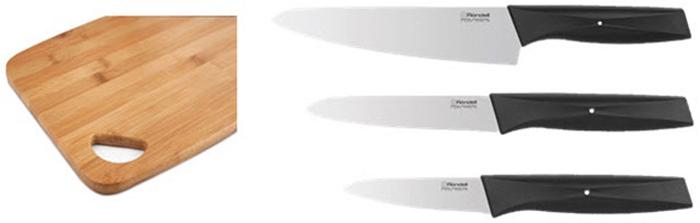 """Набор ножей Rondell """"Smart"""" отличается функциональностью: в набор входят три основных вида ножей для работы на кухне, а также  разделочная  доска.  Изделия выполнены  из  высококачественной нержавеющей  стали X30Cr13, которая используется для изготовления профессиональных ножей и  позволяет длительно сохранять заточку клинка. Благодаря  анатомическому хвату рукоятки (наличие пятки) нож удобно лежит на ладони – это  обеспечивает комфорт и безопасность в процессе кухонных работ. Рукоятка выполнена из ABS пластика. Несомненно, внимание потребителей   привлечёт разделочная  доска для обработки продуктов с отверстием для хранения, выполненная  из прочной древесины – бамбука. Материал –  бамбук – отличается гибкостью и прочностью, однако дерево не устойчиво к влаге, поэтому разделочную доску нельзя мыть в посудомоечной  машине. Функциональный комплект ножей, наличие разделочной доски - всё это сделает набор комфортным  в  использовании,  и превратит процесс приготовления пищи в настоящее удовольствие."""