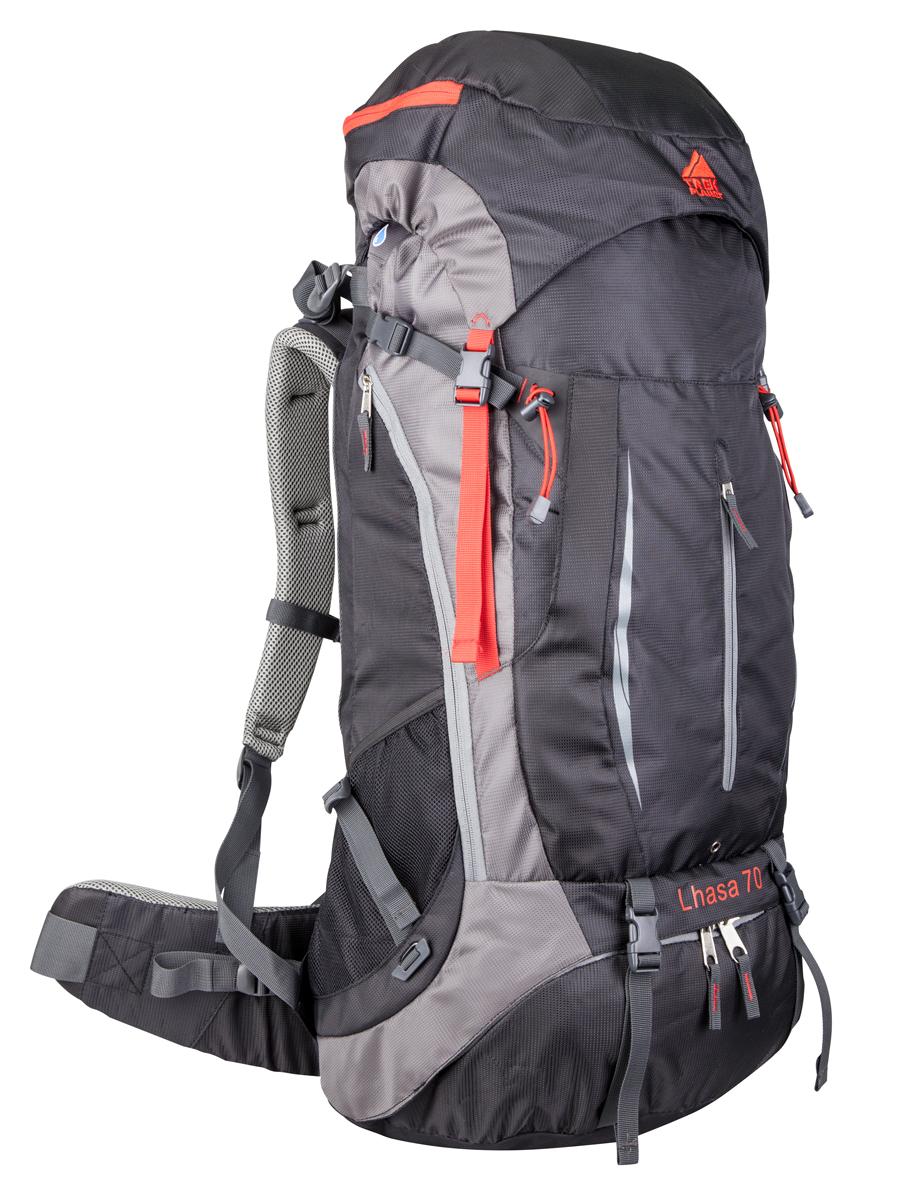 """Многофункциональный туристический техничный рюкзак TREK PLANET """"Lhasa 70"""" разработан для переноски тяжелых грузов и рассчитан на длительные походы или путешествия. Главной особенностью этого рюкзака является доступ в основное отделение с трех сторон: сверху, снизу и сбоку. Анатомическая вентилируемая жесткая спина с алюминиевыми ребрами жесткости обеспечивает максимальный комфорт, стабилизацию рюкзака на спине и не стесняет движений. Оптимальное распределение нагрузки на бедра выполняет регулируемая система жесткой подвески V1. Эргономичные плечевые ремни и комфортная подкладка на спинке рюкзака идеально распределяют вес. ОСОБЕННОСТИ РЮКЗАКА: - Длинная боковая молния для доступа в основное отделение слева- 2 больших боковых эластичных кармана,- Карман на молнии на поясном ремне,- Большой карман с клипсами на передней стенке,- Карман на молнии на передней стенке,- Большой внешний карман внизу рюкзака с доступом в основное отделение,- Дополнительные лямки и петли для крепления снаряжения.- Карман на молнии в верхнем клапане.- Боковые компрессионные ремни для регулировки объема,- Съемный чехол от дождя. ХАРАКТЕРИСТИКИ: Объем рюкзака: 70 л.Материал: полиамид.Вес: 2200г.Цвет: черный.Артикул: 70567."""