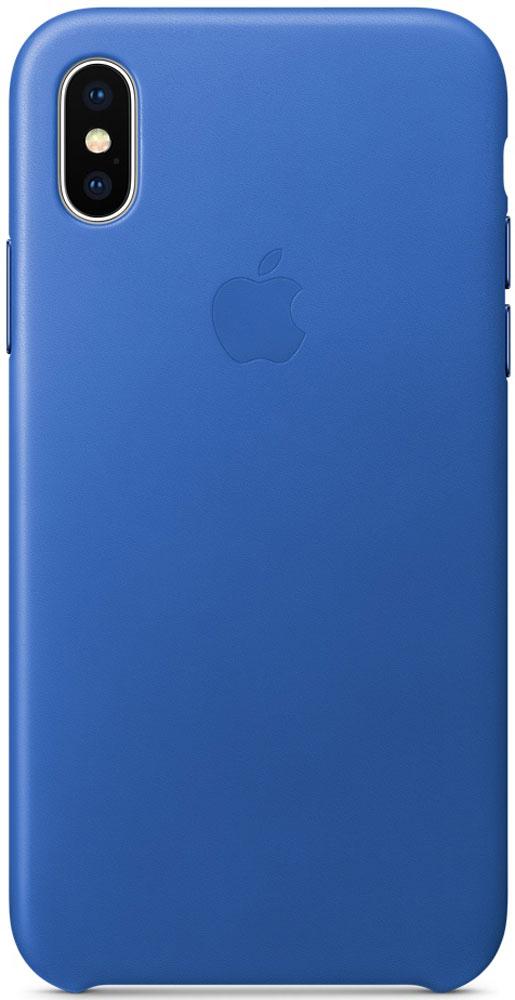 Apple Leather Case чехол для iPhone X, Electric BlueMRGG2ZM/AКожаные чехлы от Apple точно повторяют контуры iPhone, не делая его громоздким. Они изготовлены из специально обработанной кожи европейского производства, которая со временем покрывается благородной патиной. Внутренняя поверхность чехла, выполненная из микрофибры, защищает корпус вашего iPhone. А цвет кнопок из обработанного алюминия идеально к нему подходит. Чехол не придётся снимать даже во время беспроводной зарядки.