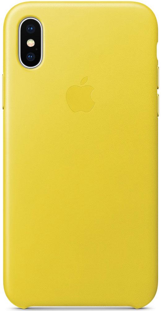 Apple Leather Case чехол для iPhone X, Spring YellowMRGJ2ZM/AКожаные чехлы от Apple точно повторяют контуры iPhone, не делая его громоздким. Они изготовлены из специально обработанной кожи европейского производства, которая со временем покрывается благородной патиной. Внутренняя поверхность чехла, выполненная из микрофибры, защищает корпус вашего iPhone. А цвет кнопок из обработанного алюминия идеально к нему подходит. Чехол не придётся снимать даже во время беспроводной зарядки.