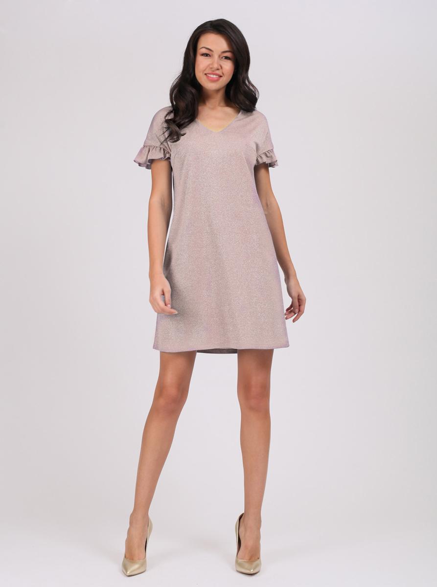 Платье цвета мокко длины мини с цветочным принтом и имитацией запаха.
