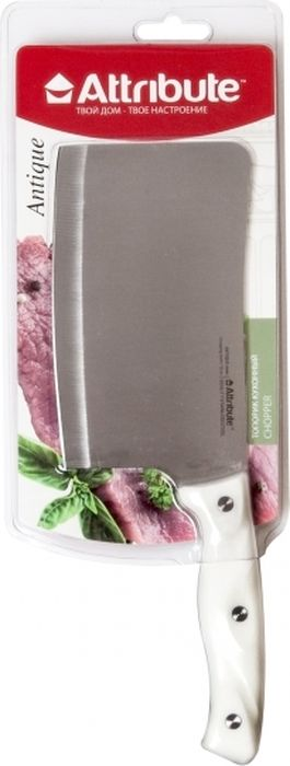 """Топорик Attribute Knife """"Antique"""" изготовлен из высококачественной стали. Немаловажным фактором долгого срока службы изделия является качественная заточка с выведением идеальных форм и создание правильного угла режущей кромки. Комфортная и функциональная рукоять изготовлена из пластика.  Топорик имеет очень толстое и широкое лезвие. Центр тяжести топорика смещен вперед. Используется для рубки замороженного мяса с костями или птицы. Такой топорик займет достойное место среди аксессуаров на вашей кухне. Не рекомендуется мыть в посудомоечной машине."""