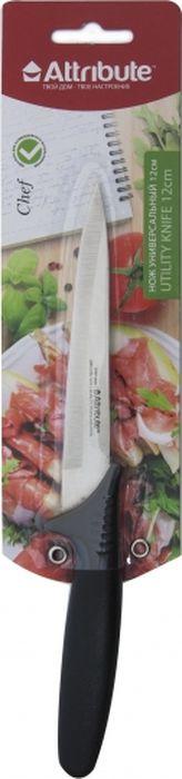 """Универсальный нож Attribute Knife """"Chef"""" предназначен для нарезки различных продуктов. Лезвие выполнено из высококачественной нержавеющей стали.  Эргономичная рукоятка, выполненная из термостойкого пластика, не скользит в руках и делает нарезку удобной и безопасной. Благодаря уникальной формуле стали и качеству ее обработки, лезвие имеет высокий показатель твердости, что позволяет ему долго сохранять острую заточку. Нож Attribute Knife """"Chef"""" идеально шинкует, нарезает и измельчает продукты. Он займет достойное место среди аксессуаров на вашей кухне."""