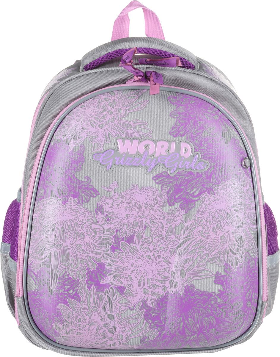 Grizzly Рюкзак школьный цвет бирюзовый салатовый ostin рюкзак с двумя карманами