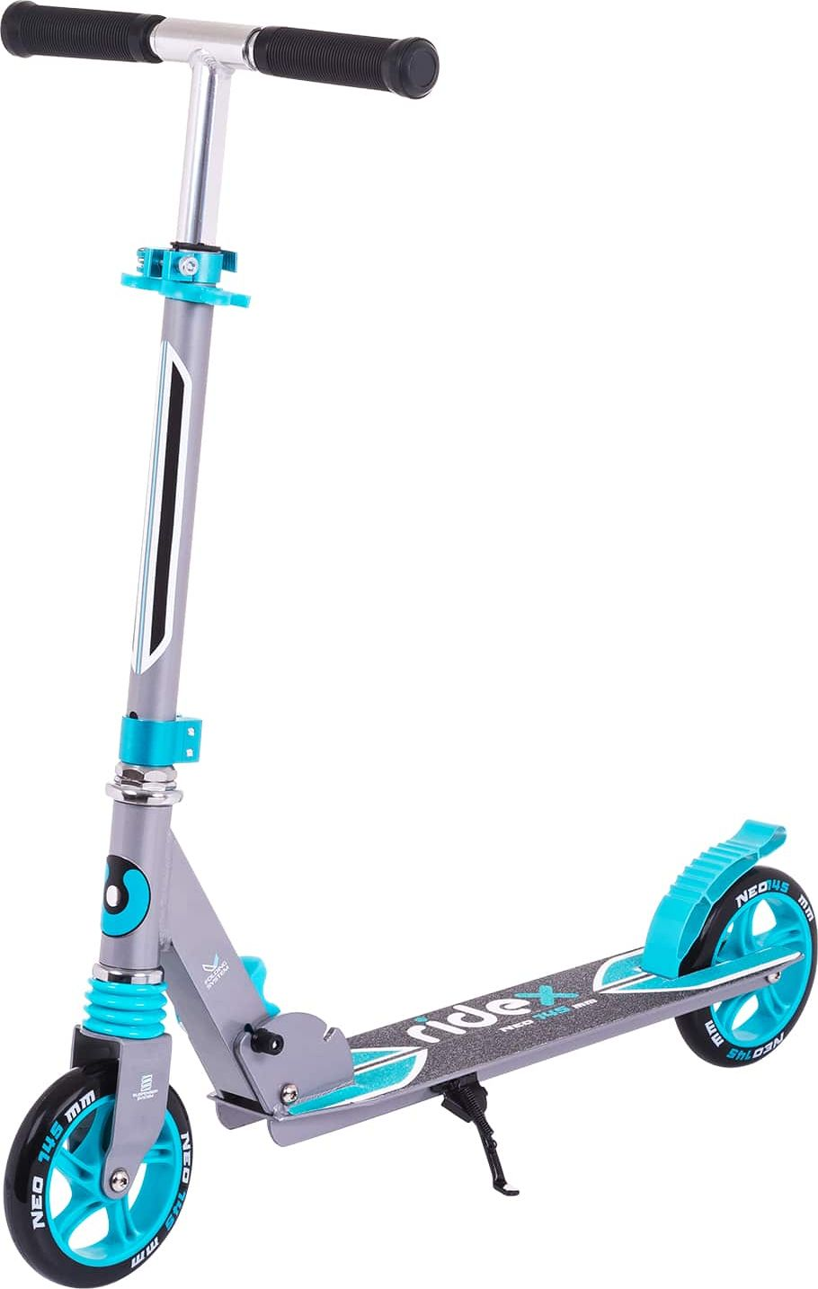 Самокат Ridex Neo, 2-колесный, цвет: серый, синий, 145 ммУТ-00011560Прочный алюминиевый самокат с 145-миллиметровыми колесами для городского катания. Износостойкие резиновые грипсы повышают сцепление с ладонями. Передний амортизатор помогает сгладить неровности дороги. Максимальный вес райдера 70 кг - на самокате может прокатиться не только школьник, но и взрослый человек. Надпись Ridex с названием модели самоката на антискользящем покрытии деки.Характеристики:Состав конструкции: 100% высокопрочный алюминийРуль, высота (см): 69/76/83Грипсы, материал: резина Дека, длина (см): 46Дека, ширина (см): 12Колеса, диаметр (мм): 145Колеса: полиуретан Подшипник: ABEC - 7Система складывания: естьАмортизатор: переднийМаксимальный вес пользователя, кг: 70Вес без коробки, кг: 2,97