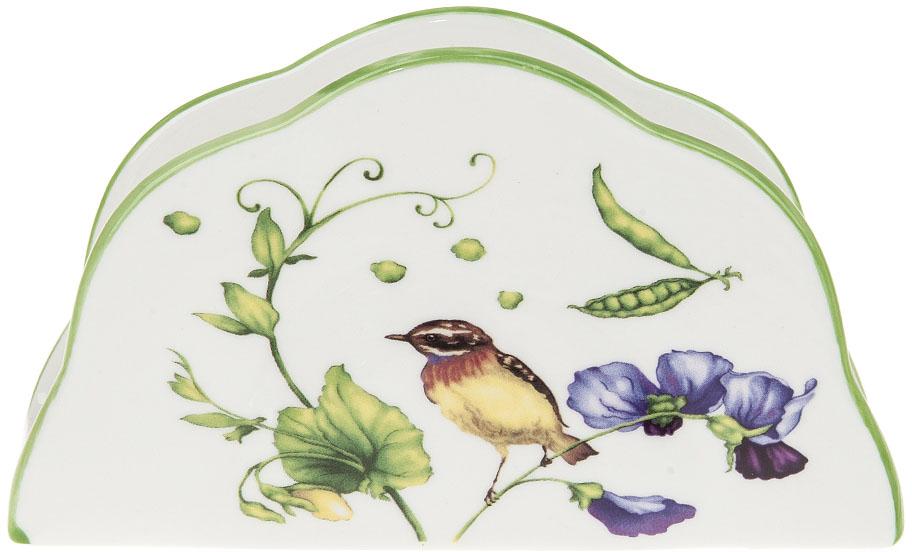 """Салфетница """"Луговой горошек"""" выполнена из фарфора. Изящный цветочный дизайн станет эффектным акцентов в вашей кухне."""