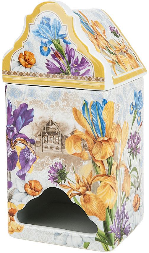 """Банка для чайных пакетиков (диспенсер) """"Ирис"""" выполнена из фарфора. Оригинальный яркий дизайн станет эффектным акцентов в вашей кухне."""