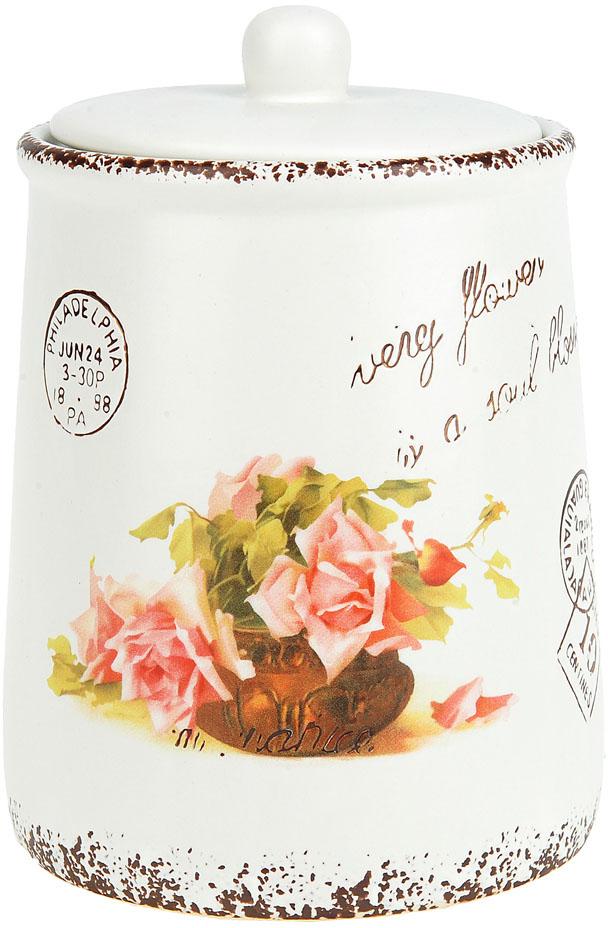 """Банка для сыпучих продуктов """"Персиковая роза"""" выполнена из керамики.  Винтажный дизайн в нежных тонах придаст вашей кухне изысканную утонченность."""