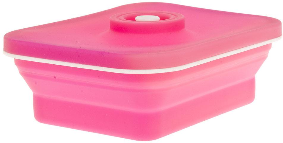 Контейнер (складной) выполнен из силикона, крышка из пластика. Удобный, функциональный в использовании, привлекательный яркий дизайн