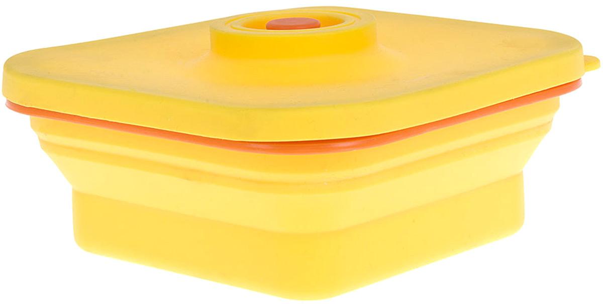 """Контейнер (складной) Best Home Kitchen """"Солнечное настроение"""" выполнен из пищевого силикона, крышка из пластика. Не занимает много места при хранении.Удобный, функциональный в использовании, привлекательный яркий дизайн.Цвет: желтыйОбъем: 0,8 л."""