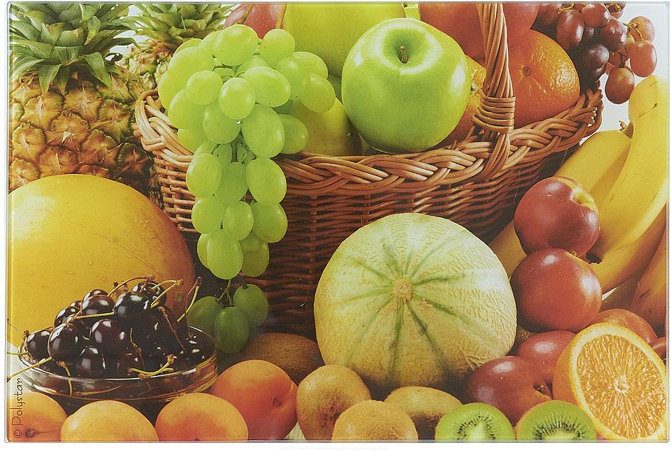Доска разделочная Best Home Kitchen Фруктовый урожай, стеклянная, 20 х 30 х 0,5 см доска разделочная taller 2210