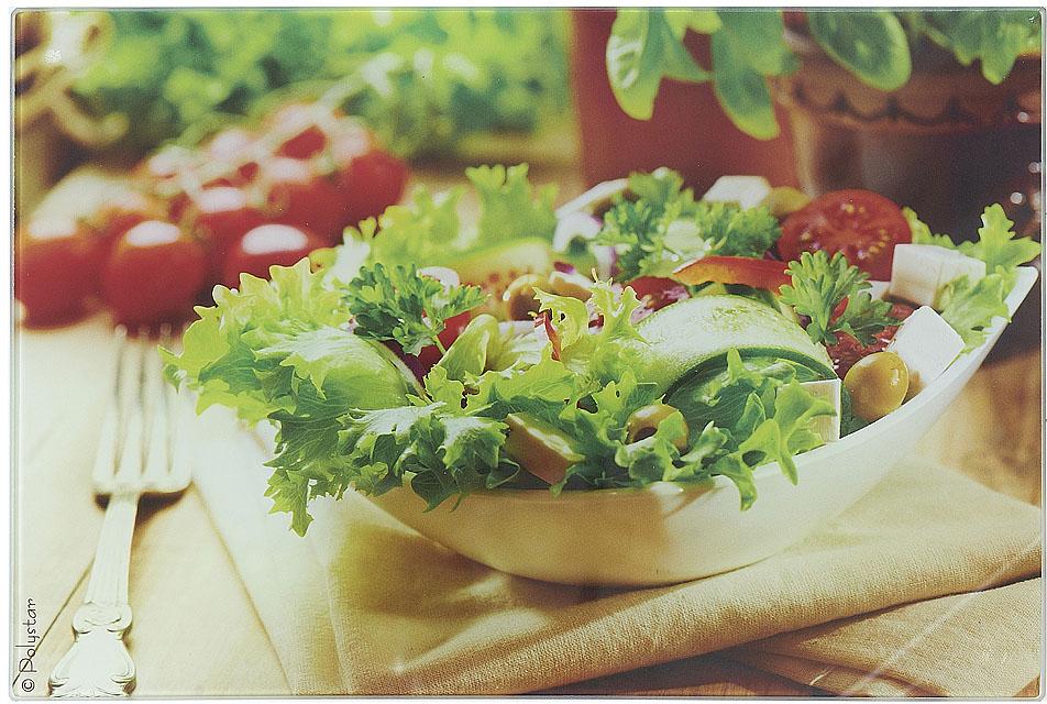 Доска разделочная Best Home Kitchen Греческий салат, стеклянная, 20 х 30 х 0,5 см
